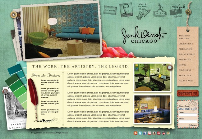 So, You're Ready For A Website Update...a Design & Conquer Blog Post from Martinez Creative Group, advertising and marketing agency in Chicago Illinois Suburbs -- it all starts with a sketch and your goals! This is the completed Jack Denst wall coverings brand website design.